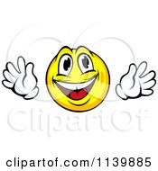 Clipart Of A Happy Yellow Emoticon With Hands Royalty Free Vector Illustration
