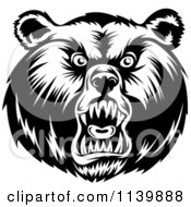 Clipart Of A Black And White Mad Grizzly Bear Head Royalty Free Vector Illustration