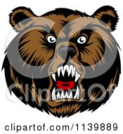 Clipart Of A Mad Grizzly Bear Head Royalty Free Vector Illustration