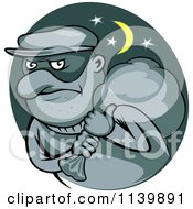 Clipart Of A Robber Carrying A Bag On His Shoulder Royalty Free Vector Illustration by Seamartini Graphics