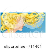 Young Blond Woman With Her Hair Flying In The Breeze Clipart Illustration by AtStockIllustration