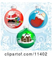 Three Christmas Bauble Ornaments With Pictures Of Santa A Stocking And Pudding Clipart Illustration