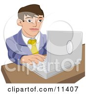 Young Businessman Working On A Laptop Computer Clipart Illustration