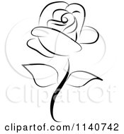 Clipart Of A Beautiful Single Black Rose 1 Royalty Free Vector Illustration