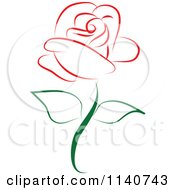 Clipart Of A Beautiful Single Red Rose 1 Royalty Free Vector Illustration by Vitmary Rodriguez
