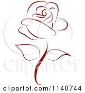 Clipart Of A Beautiful Single Red Rose 3 Royalty Free Vector Illustration by Vitmary Rodriguez #COLLC1140744-0040
