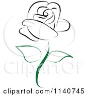 Clipart Of A Beautiful Single Black Rose 2 Royalty Free Vector Illustration by Vitmary Rodriguez