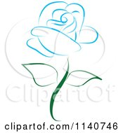Clipart Of A Beautiful Single Blue Rose 2 Royalty Free Vector Illustration by Vitmary Rodriguez