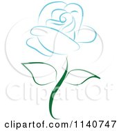 Clipart Of A Beautiful Single Blue Rose 3 Royalty Free Vector Illustration by Vitmary Rodriguez