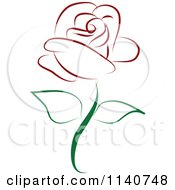 Clipart Of A Beautiful Single Red Rose 2 Royalty Free Vector Illustration by Vitmary Rodriguez