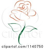 Clipart Of A Beautiful Single Orange Rose 1 Royalty Free Vector Illustration by Vitmary Rodriguez