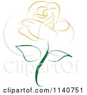 Clipart Of A Beautiful Single Orange Rose 2 Royalty Free Vector Illustration by Vitmary Rodriguez