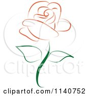 Clipart Of A Beautiful Single Peach Rose 1 Royalty Free Vector Illustration by Vitmary Rodriguez