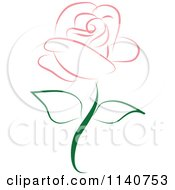 Clipart Of A Beautiful Single Pink Rose 2 Royalty Free Vector Illustration