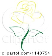 Clipart Of A Beautiful Single Yellow Rose 1 Royalty Free Vector Illustration by Vitmary Rodriguez