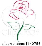 Clipart Of A Beautiful Single Magenta Rose Royalty Free Vector Illustration