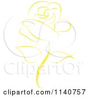 Clipart Of A Beautiful Single Yellow Rose 2 Royalty Free Vector Illustration by Vitmary Rodriguez #COLLC1140757-0040
