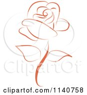 Clipart Of A Beautiful Single Peach Rose 2 Royalty Free Vector Illustration by Vitmary Rodriguez