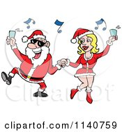 Cartoon Of Santa Holding Up A Drink And Dancing With A Sexy Mrs Clause Royalty Free Vector Clipart