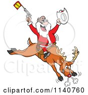 Cartoon Of A Rodeo Santa Riding A Bucking Rudolph Reindeer Royalty Free Vector Clipart by LaffToon