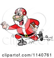 Cartoon Of A Football Santa Running Royalty Free Vector Clipart