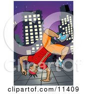 African American Breakdancer Doing A One Handed Handstand On A Sidewalk At Night Clipart Illustration