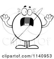 Cartoon Clipart Of A Black And White Scared Planet Uranus Vector Outlined Coloring Page