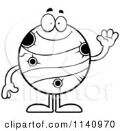 Cartoon Clipart Of A Black And White Waving Planet Mercury Vector Outlined Coloring Page by Cory Thoman