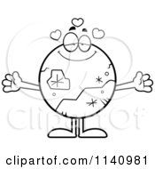 Cartoon Clipart Of A Black And White Loving Pluto Vector Outlined Coloring Page