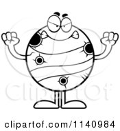 Cartoon Clipart Of A Black And White Mad Planet Mercury Vector Outlined Coloring Page by Cory Thoman