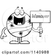 Cartoon Clipart Of A Black And White Planet Mercury Holding A Sign Vector Outlined Coloring Page by Cory Thoman
