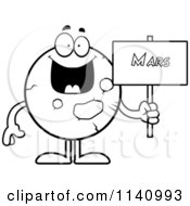 Cartoon Clipart Of A Black And White Planet Mars Holding A Sign Vector Outlined Coloring Page