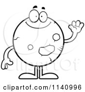 Cartoon Clipart Of A Black And White Waving Planet Mars Vector Outlined Coloring Page