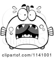 Cartoon Clipart Of A Black And White Frightened Piranha Fish Vector Outlined Coloring Page