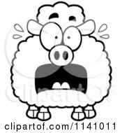 Cartoon Clipart Of A Black And White Frightened Sheep Vector Outlined Coloring Page
