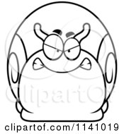Cartoon Clipart Of A Black And White Angry Snail Vector Outlined Coloring Page by Cory Thoman