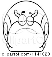 Cartoon Clipart Of A Black And White Depressed Sad Snail Vector Outlined Coloring Page by Cory Thoman