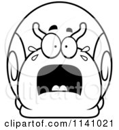 Cartoon Clipart Of A Black And White Frightened Snail Vector Outlined Coloring Page by Cory Thoman