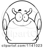 Cartoon Clipart Of A Black And White Happy Snail Vector Outlined Coloring Page by Cory Thoman