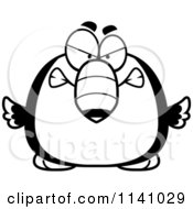 Cartoon Clipart Of A Black And White Angry Toucan Bird Vector Outlined Coloring Page