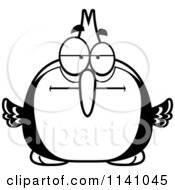 Cartoon Clipart Of A Black And White Bored Woodpecker Bird Vector Outlined Coloring Page by Cory Thoman
