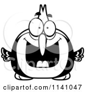 Cartoon Clipart Of A Black And White Excited Woodpecker Bird Vector Outlined Coloring Page by Cory Thoman