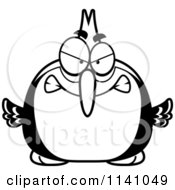 Cartoon Clipart Of A Black And White Angry Woodpecker Bird Vector Outlined Coloring Page by Cory Thoman