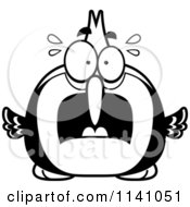 Cartoon Clipart Of A Black And White Frightened Woodpecker Bird Vector Outlined Coloring Page by Cory Thoman