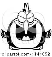 Cartoon Clipart Of A Black And White Sly Woodpecker Bird Vector Outlined Coloring Page by Cory Thoman