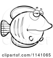 Cartoon Clipart Of A Black And White Bored Butterflyfish Vector Outlined Coloring Page