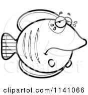 Cartoon Clipart Of A Black And White Crying Sad Butterflyfish Vector Outlined Coloring Page