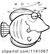 Cartoon Clipart Of A Black And White Drunk Butterflyfish Vector Outlined Coloring Page
