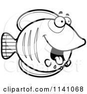 Cartoon Clipart Of A Black And White Drooling Hungry Butterflyfish Vector Outlined Coloring Page