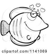 Cartoon Clipart Of A Black And White Butterflyfish In Love Vector Outlined Coloring Page